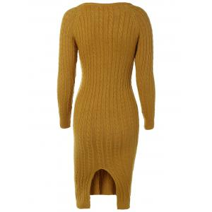 Long Sleeve Cable Knit Bodycon Sweater Dress -