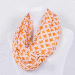 Retro Copper Cash Print Voile Shawl Wrap Scarf - LUMINOUS BRIGHT ORANGE