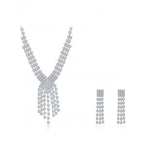 Rhinestoned Layered Wedding Jewelry Set - SILVER