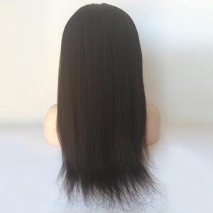 Gorgeous Long Yaki Straight Side Bang Lace Front Real Natural Hair Wig - BLACK