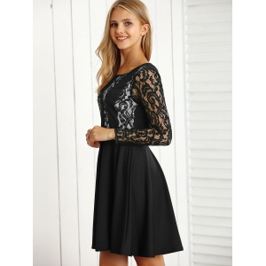Long Sleeve Lace A Line Dress -