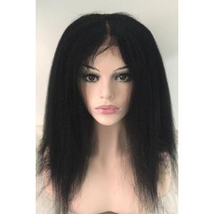 Long Kinky Straight Middle Part Lace Front Real Natural Hair Wig - BLACK