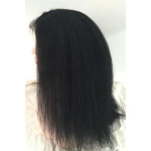 Long Kinky Straight Middle Part Lace Front Real Natural Hair Wig -