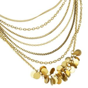 Multilayered Alloy Sequins Pendant Necklace - GOLDEN
