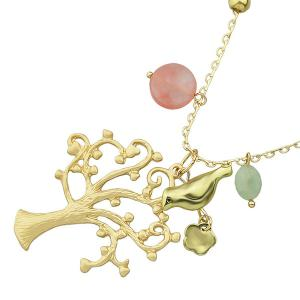 Bird Tree Floral Beaded Sweater Chain -
