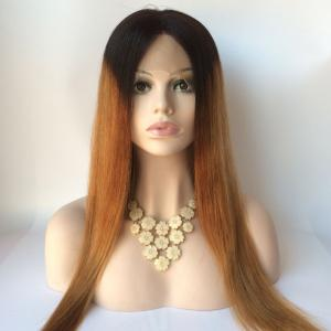 Long Straight Middle Part Double Color Lace Front Real Natural Hair Wig -