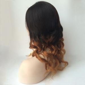 Long Centre Parting Wavy Double Color Lace Front Real Natural Hair Wig -