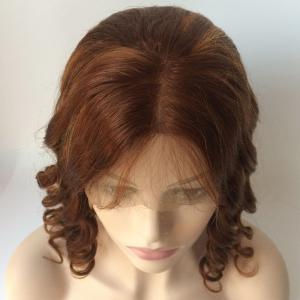 Medium Centre Parting Loose Wavy Double Color Lace Front Real Natural Hair Wig -