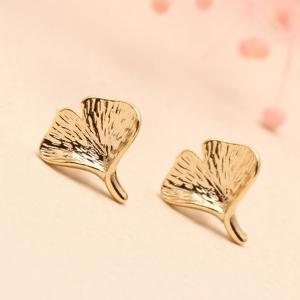 Pair of Solid Ginkgo Leaf Stud Earrings -