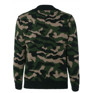 Camouflage Button Up Baseball Knitwear -