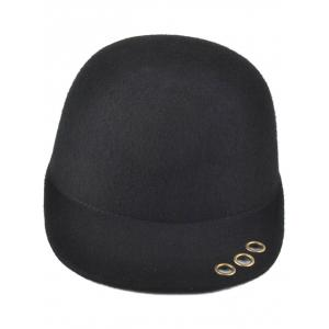 Hollow Metal Rings Pure Color Wool Fodora Hat -