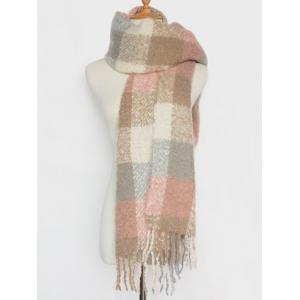 Winter Soft Color Bloc Plaid Tassel Châle Pashmina -
