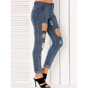 Button Fly Ripped Pencil Jeans - DENIM BLUE XL