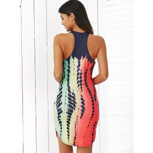Sleeveless Printed Racerback Fitted Mini Dress -