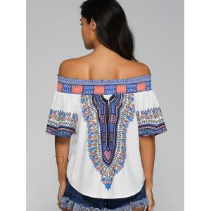 Off-The-Shoulder Tribal Pattern Blouse -