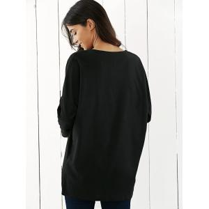 Drop Shoulder Tunic T-Shirt - BLACK XL