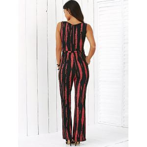Stripe Sleeveless V Neck Jumpsuit -