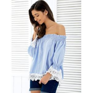Off The Shoulder Striped Lace Panel Blouse -