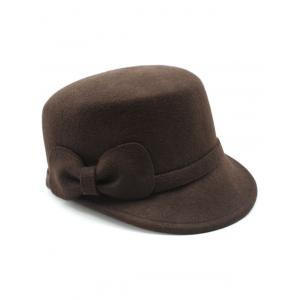 Keep Warm Wool Bowknot Flat Top Equestrian Hat - COFFEE
