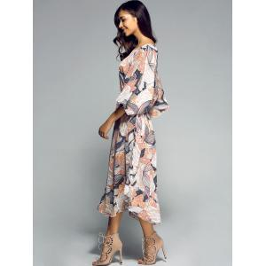 Side Slit Tied Belt Floral Print Midi Dress -