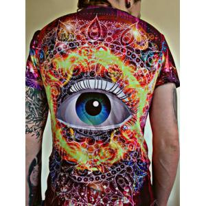 3D Abstract Eye Printed Round Neck Short Sleeves T-Shirt -