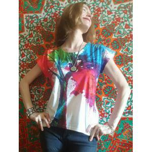 Scoop Neck Colorful Tree Print High Low Short Sleeve T-Shirt -