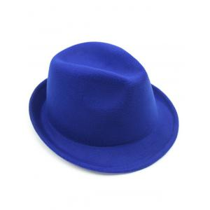 Flanging Faux Wool Fedora Hat - BRIGHT BLUE