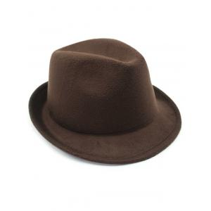 Flanging Faux Wool Fedora Hat - COFFEE
