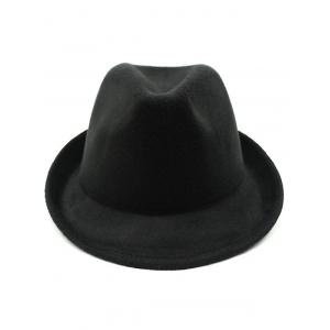 Flanging Faux Wool Fedora Hat - BLACK