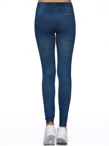 Outfits Fake Button Design Leggings - ONE SIZE DENIM BLUE Mobile