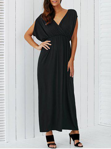 Cheap V Neck Empire Waist Surplice Maxi Evening Dress