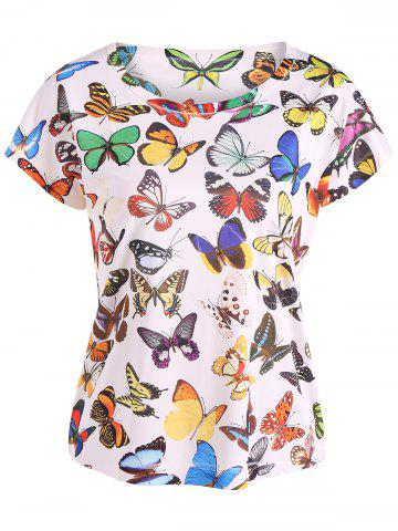 Hot Short Sleeve Butterfly Print Tee