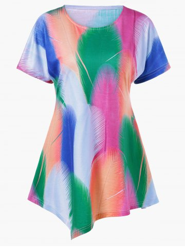 Outfits Colorful Print Asymmetrical T-Shirt