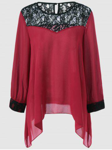 Plus Size Lace Splicing Asymmetrical Blouse - Deep Red - 3xl