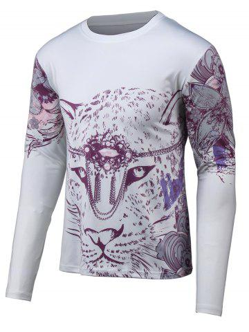 Outfit Floral 3D Print Round Neck Long Sleeve T-Shirt GRAY 4XL