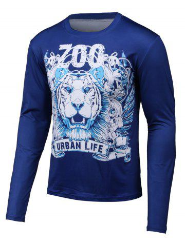 Shops 3D Lion Print Round Neck Long Sleeve T-Shirt