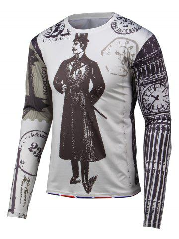 Shop 3D Gentleman Print Round Neck Long Sleeve T-Shirt GRAY 4XL