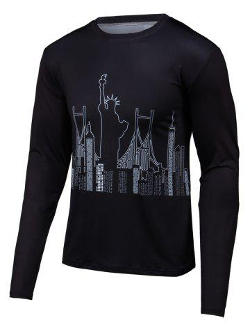 Fancy 3D Building Print Round Neck Long Sleeve T-Shirt BLACK 4XL