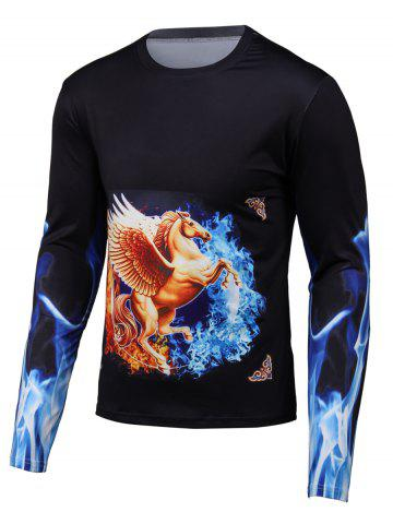 Online 3D Pegasua Print Round Neck Long Sleeve T-Shirt BLACK 3XL