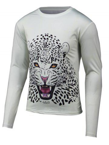 Chic Leopard 3D Print Round Neck Long Sleeve T-Shirt