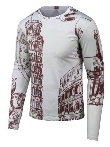 Shops Hand-painted 3D Printed Round Neck Long Sleeve T-Shirt GRAY 4XL