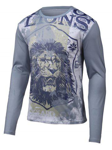 Shop Lion 3D Printed Round Neck Long Sleeve T-Shirt GRAY 4XL