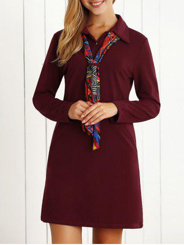 Sale Long Sleeves Buttoned Shift Dress with Scarf