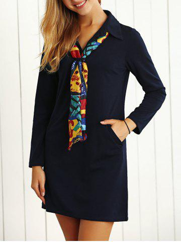 Online Long Sleeves Buttoned Shift Work Dress with Scarf