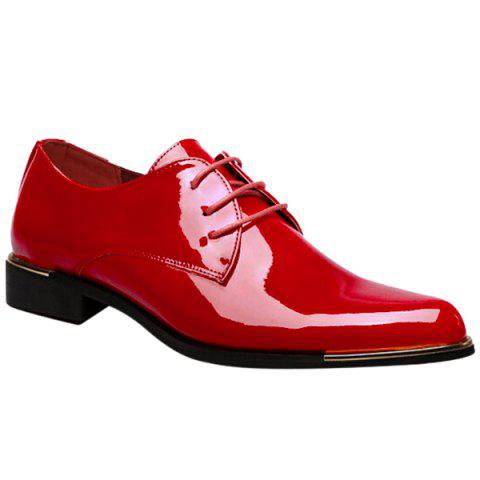 Store Fashion Patent Leather and Tie Up Design Formal Shoes For Men
