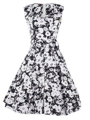 Trendy Sweetheart Neck Floral Bowknot Dress