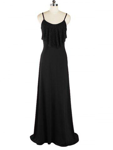 Affordable Lace Panel Long Slip Prom Overlay Dress