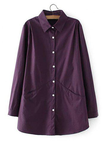 Shop Long Sleeves Buttoned Back Ruched Shirt VIOLET 3XL