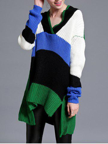 Hot Asymmetrical Furcal V Neck Knitwear GREEN ONE SIZE