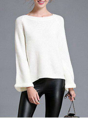 Latest Pullover Bell Sleeve Knitwear WHITE ONE SIZE